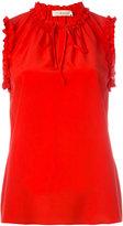Tory Burch lace-up neck tank top - women - Silk - 2
