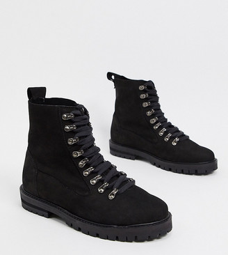ASRA Exclusive Barnes black hiker boots in black suede