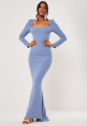 Missguided Bridesmaid Blue Milkmaid Long Sleeve Fishtail Maxi Dress
