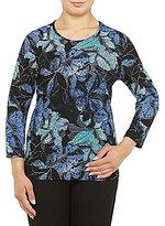 Allison Daley Plus Crew Neck 3/4 Sleeve Print Pucker Knit Top