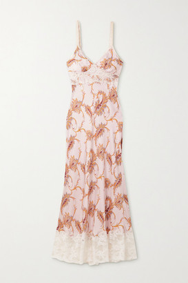Paco Rabanne Lace-trimmed Paisley-print Satin Maxi Dress - Blush