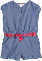 Design History Girls Girl's Zip-Front Belted Chambray Romper, Size 2-6X