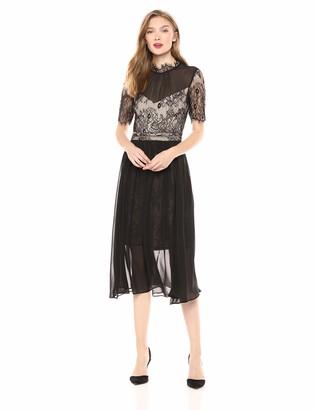 AVEC LES FILLES Women's Tea Length Dress with Lace Bodice