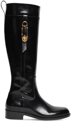 Versace 30mm Brushed Leather Tall Boots