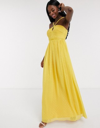 Little Mistress pleat detail maxi dress with gold spot