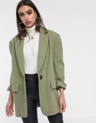 Asos DESIGN grandad coat in sage