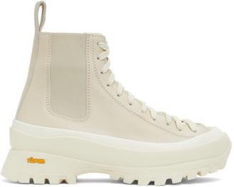 Jil Sander Beige Leather Combat Boots