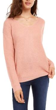 Ultra Flirt Juniors' Lace-Up Back Sweater
