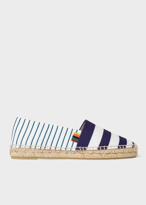 Paul Smith Women's Navy And White Stripe Canvas 'Sunny' Espadrilles