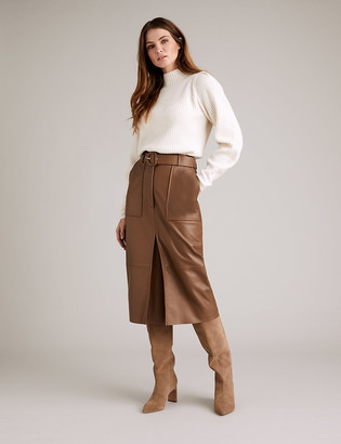 Marks and Spencer Leather Belted Midi Pencil Skirt