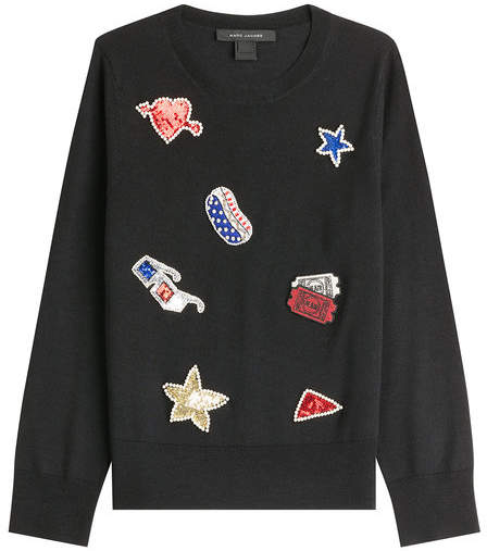 Marc Jacobs Wool Pullover with Embellished Patches