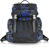 DSQUARED2 Glam Leo Printed Black, Green and Blue Nylon Backpack