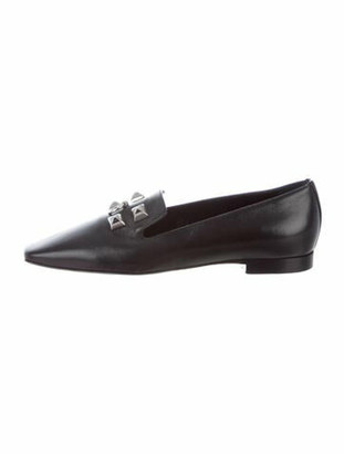Hermes Leather Studded Accents Loafers Black