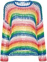 Mira Mikati Rainbow Open Hand Crochet Sweater