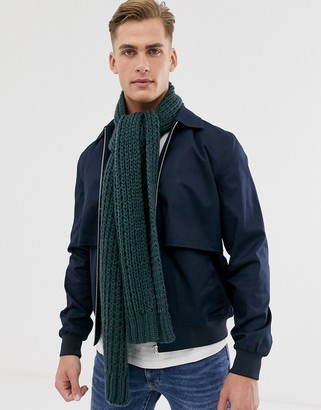 ASOS DESIGN knitted scarf in bottle green