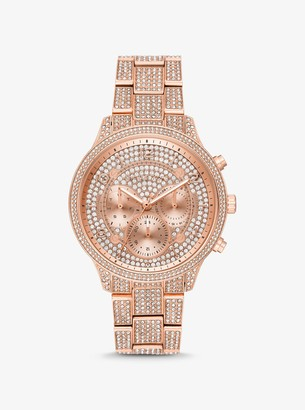 Michael Kors Oversized Runway Pave Rose Gold-Tone Watch