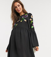Asos DESIGN Maternity fluted sleeve embroidered smock mini dress in black
