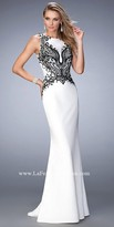 La Femme Sleeveless Embroidered Jersey Prom Dress