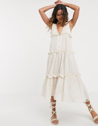 ASOS DESIGN button front tiered midi sundress in textured crinkle in stone