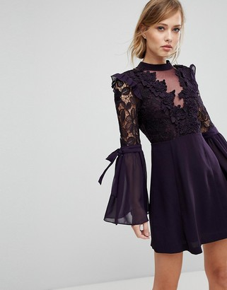 True Decadence Premium Lace Mini Dress With Bow Sleeve Detail