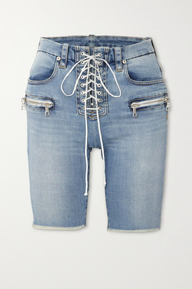 Unravel Project Lace-up Frayed Denim Shorts - Blue