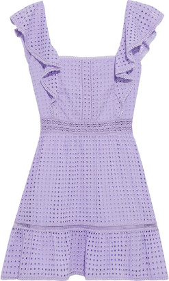 Alice + Olivia Remada Ruffled Broderie Anglaise Cotton Mini Dress