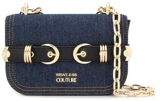 Versace double buckle denim crossbody bag