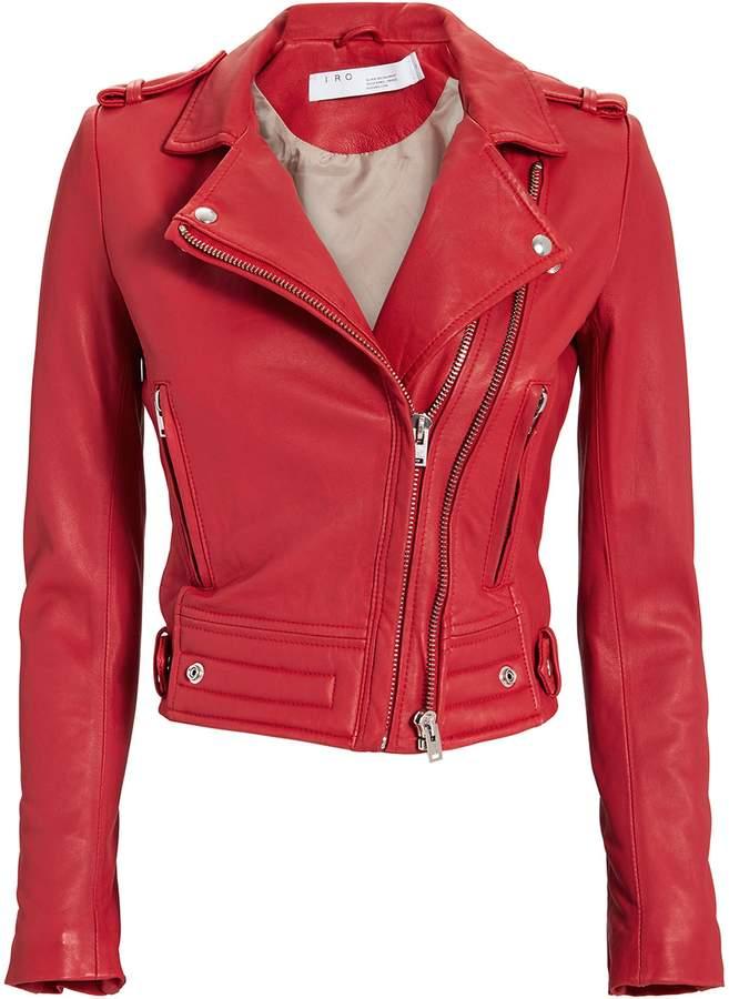 IRO Luiga Red Leather Cropped Moto Jacket