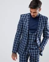 Asos Super Skinny Suit Jacket In Blue Tartan Check