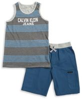 Calvin Klein Jeans Little Boys Striped Tank and Shorts Set