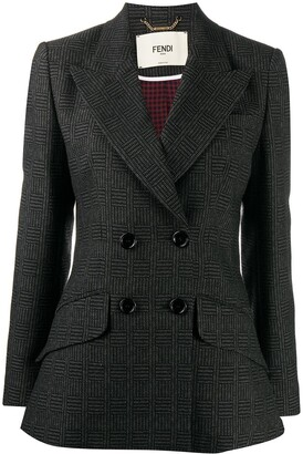 Fendi Double-Breasted Check Blazer
