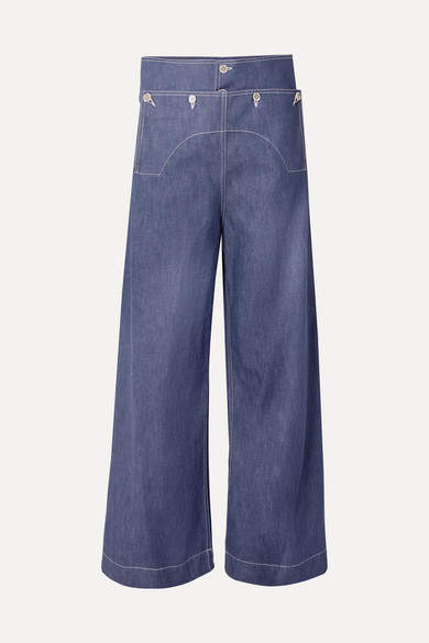 Marni Button-embellished High-rise Wide-leg Jeans - Blue
