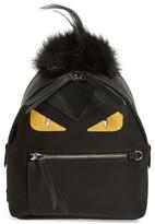 Fendi Monster Genuine Fox Fur, Genuine Goat Fur & Genuine Snakeskin Trim Backpack - Black