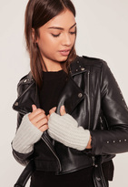 Missguided Soft Knit Mittens Grey