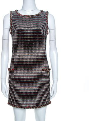 Chanel Black Striped Tweed Wool Mini Dress S