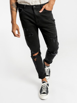 Abrand A Dropped Slim Turn Up Jeans Rogue Black