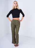 Missy Empire Mika Khaki High Waisted Flared Trousers