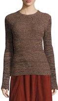 Apiece Apart Otero Ribbed Crewneck Sweater, Red Rock Marl