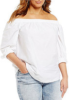 Moa Moa Plus Chambray Off-the-Shoulder Top