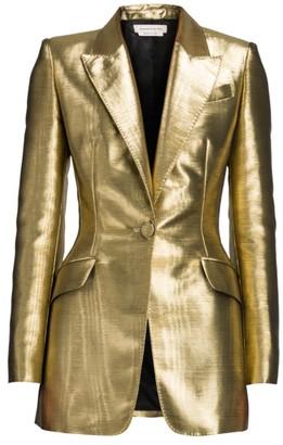 Alexander McQueen Metallic One-Button Blazer Jacket