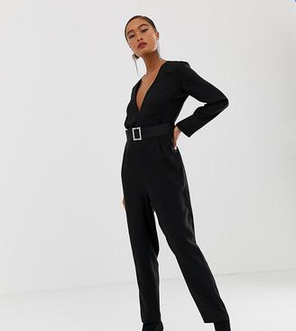 Miss Selfridge jumpsuit with buckle belt in black