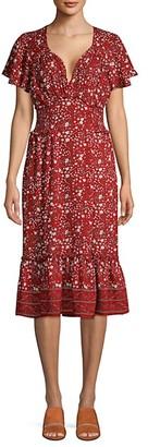 Max Studio Floral Flounce-Hem Dress