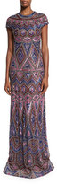 Naeem Khan Geometric-Beaded Cap-Sleeve Gown, Amethyst