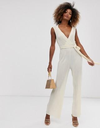 Liquorish wrap front plisse jumpsuit in cream