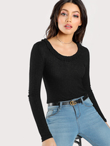 Shein Frilled Scoop Neck Fitted T-shirt