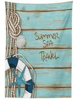 vipsung Ocean Tablecloth Marine Life Sea Deck with Hot Summer Quote Sea Trave Print Image Art Dining Room Kitchen Rectangular Table Cover Turquoise Dark Blue Umber