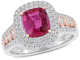 Diamond Select Cuts 14K Two-Tone 1.38 Ct. Tw. Diamond & Pink Sapphire Ring