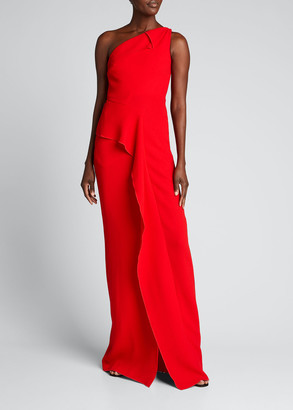 Roland Mouret Istana One-Shoulder Cascading Ruffle Gown