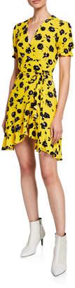 Diane von Furstenberg Emilia Printed Short-Sleeve Flouncy Wrap Dress