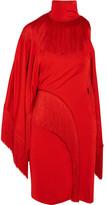 Givenchy One-shoulder Fringed Jersey Turtleneck Mini Dress - Red
